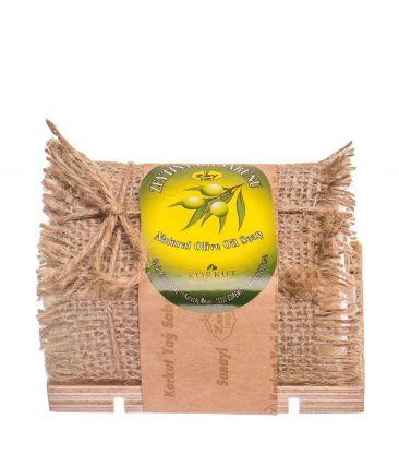 Мыло твердое натуральное с подставкой Оливка